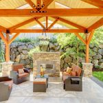 comfortable pavilion for outdoor with fabricated vinyl flooring  an outdoor fireplace with natural stone-looks-like-brick mantel cozy outdoor furniture in brown leather coat