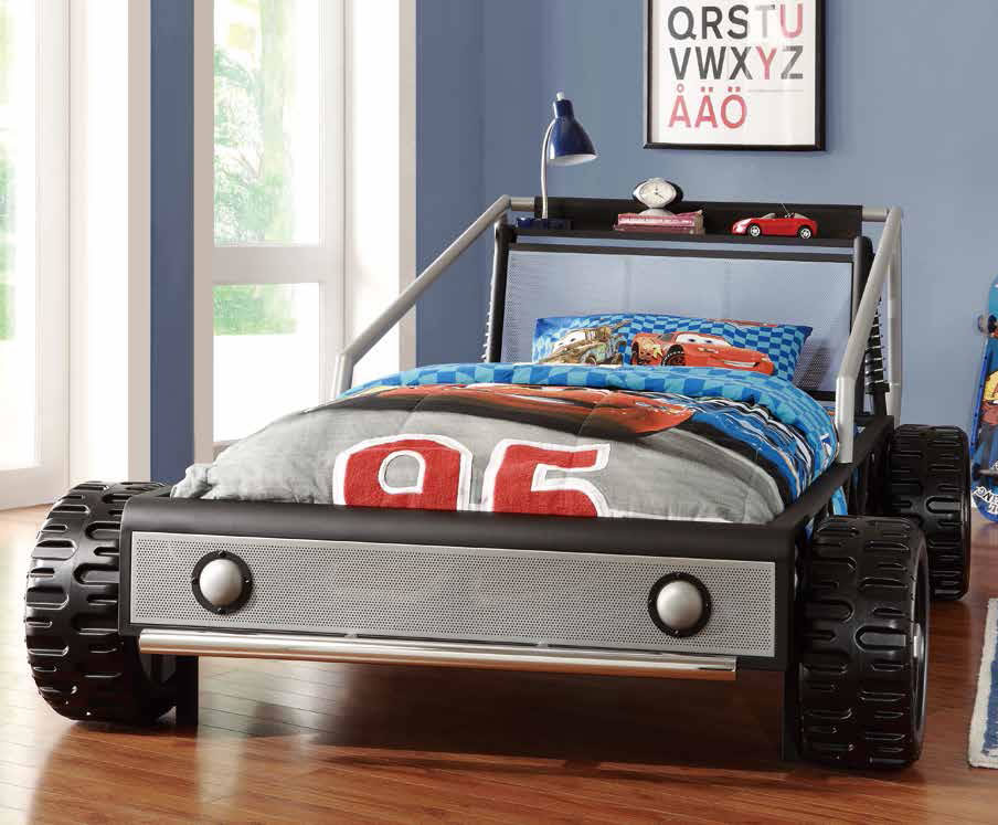 cute race car bed for toddlers cute racing car bed for toddlers race car bed with wheels racing care bed with wheels race car bed with unique shelves  racing car bed with toys shelves simple blue table lamp kids' bedroom in blue theme kids' race