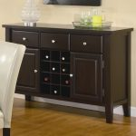 dining sideboard in black with wine storage drawers and cabinets a dish of fresh and colorful drinkings  beautiful glass ornament wood-finish flooring