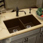 double kitchen sinks made from composite granite luxurious cream marble countertop crafted rattan basket for fruits and vegetables beautiful pots and vivid plants ornaments unique copper faucet