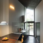eclectic kitchen with minimalist japanese style with wonderful black roof and simple kitchen supplies in hardwooden flooring
