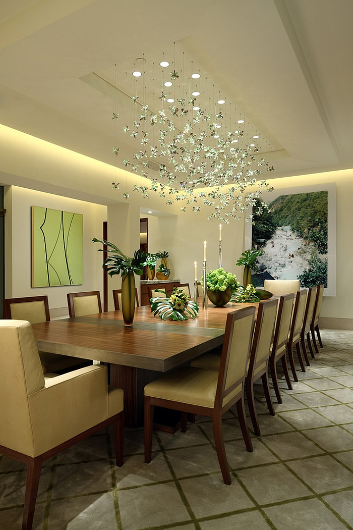 Creating Wonderful Dining Room With Refreshing Green