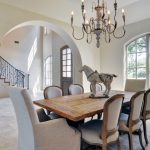 elegant modern french country interior with wonderful stairs idea also ravishing chandelier with wooden set dining furniture in granite tile flooring