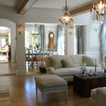 enchanting french style with elegant light gray couch also interesting twins chandelier with dining room setting in laminate flooring concept