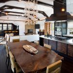 exquisite dining room idea with wonderful wooden dining table also astonishing aluminum countertop with small bar area in hardwooden flooring idea