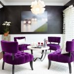 gorgeous living room idea with alluring purple fabric chairs ans interesting white round coffee table also cute white pendant lamp in laminate flooring idea