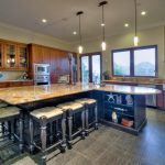 granite kitchen surface with clear natural lines unique bar chairs shelving units under kitchen island  kitchen set in rustic dark wood floor for kitchen
