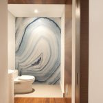 hardwood flooring white toilet white floor white ceiling white wall downlight wood wall and ceiling white round vanity great wave-like powder room wallpaper