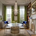 interesting dining room concept with fresh lime green curtain also astonishing large book shelves with gorgoeus classic crystal lamp in hardwooden flooring