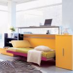 interesting furniture concept for small room with unique folding bed also interesting built-in working desk with fresh yellow accent and zebra motif rug in laminate flooring