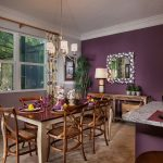 interesting purple wall dining room with rustic dining set furniture also energizing flower pattern curtain with granite marble kitchen island top in large carpeting idea