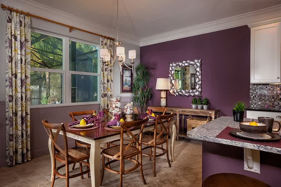 Interesting Purple Wall Dining Room With Rustic Set Furniture Also Energizing Flower Pattern Curtain
