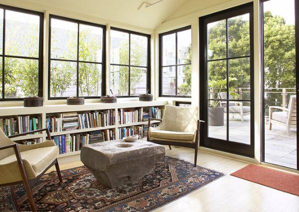 Large Under Window Book Shelves Sliding Gl Door With Black Wood Frames Red Entryway Rug Shabby