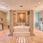 luxurious bathroom design higher floor for large queen bathtub ceramic looks like marble floors white cabinetry arrangement