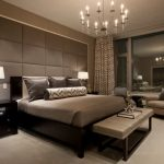 magnificent brown bedroom idea with ravishing square pattern wall and elegant unique motiv curtin in large carpeting design