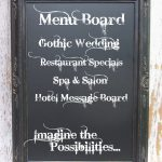 menu board on framed chalkboard accessory