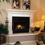 modern minimalist fireplace construction in black-white tone beautiful painting in gold-accent frames classic table lamp