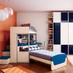 orange and white wall whte ceiling unique white round hanging lamps white and blue wardrobe hardwood flooring glass sliding door white framed bed blue desk white chair
