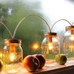 ornamental mason jar lighting  fresh apples ornaments