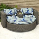 outdoor daybed in half-round shape sea animal pattern mattress twin cocktail glasses