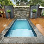 outdoor plunge pool with black natural stone frame wood flooring a pair ornamental plants with standing pots original bricks wall idea for house walls