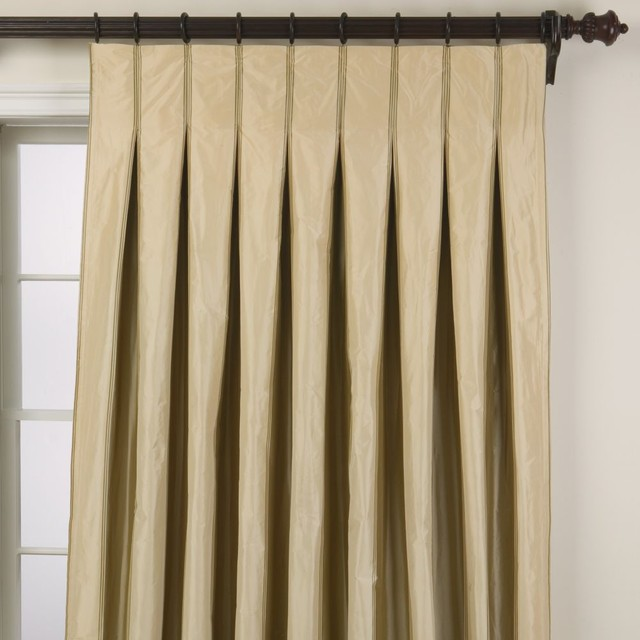 Pretty Cream Tone Pleat Curtains With Black Stick And Hooks