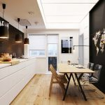 ravishing kitchen idea with interesting black wall panel also unique white kitchen islan with acrylic chairs in hardwooden flooring