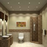 shower area without door in beautiful mosaic tiles for wall and floor closet unit  two units of sinks and faucets  decorative painting