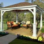 small outdoor pavilion with luxurious pillars designs wood-planks-finish floor outdoor furniture colorful vivid flowers ornaments