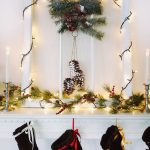 sparkling window decoration with pine leaves  ornament and black socks ornaments  for mantel twin tiny metal chandeliers