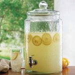 textured-glass beverage dispenser with glass top and stainless steel spigot