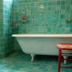 turquoise tiled bathroom wall unique various shades of green tiled flooring red chair white classic tub fich mosaic green tiles wall decoration glass shower door with iron frame
