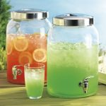 twin glass beverage gallons with stainless steel spigot