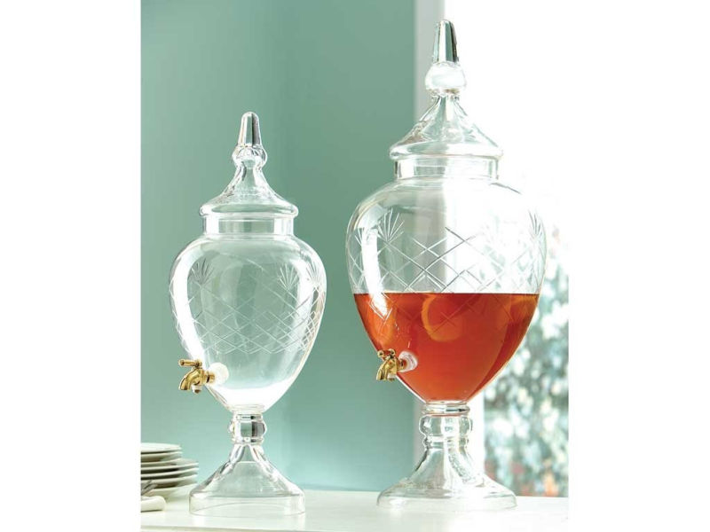 Two Artistic Turkish Style Textured Gl Beverage Dispensers With Gold Accent Spigot And