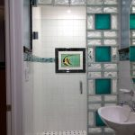 two-tones blured glass door shower white ceramic tiles wall for bathroom strips of mosaic tiles