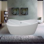 unique small bathtub idea  twin decorative flower paintings smooth and thick grey wool rug small grout lines polished marble walls white ceramic flooring low-height table with two classic table lamps wood book shelves