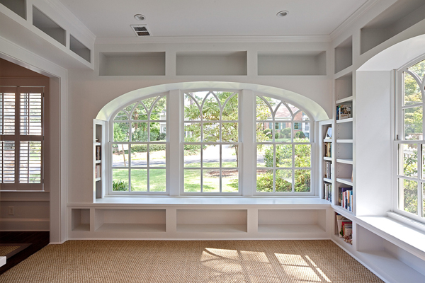 White Bookshelves And Bench Under Curve Window Style Side Bookcase Natural Brown Basket Weave