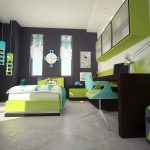 white concrete flooring silver table lamp black wall lime green wall mounted shelves blue and lime green office chair unique white clock lime green bed frame dark wood table beautiful colorful curtains