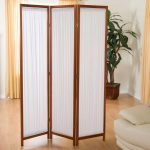 white cotton room divider with wood frame