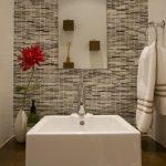 White Square Sink Wood Vanity White Vase Slim Rectangular Mirror White Towel Metal Ring Hook Shades Of Grey Mosaic Tiles Wall White Wall Wood Wall Mounted Square Pots