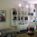 white unique shelves glass hanging lamps red chair white des grey curtains hardwood flooring white bedding set grey blanket white and black cabinet black table lamp car photo wall decoration