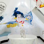 whute floor white bath tub with bubbles decoration white towel pale blue bathroom seat unique superwoman bathroom wall metal towel holder metal classic faucet