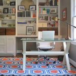 winning office home design with glossy top table and large wall cabinet shelving also interesting white wall and artistic rug for modern house design