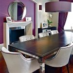 wonderful dining room concept with purple shade feat cute white fabric chairs and long black table with eclectic fireplace also interesting dark purple curtain in hardwooden flooring