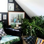 wonderful home interior with cozy reading nook and wonderful rattan basket with photo framed on the wall completed with green element in the corner