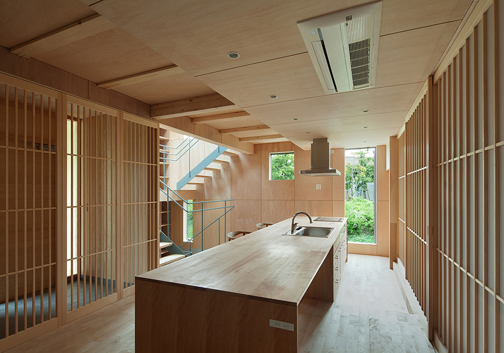 Wonderful Kitchen In Anese Style With Wooden Countertop And Elegant Cered Wall Panel Hardwooden