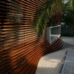 wonderful wooden wavy wall with eclectic brown accent also interesting small reading nook overlooing outside view