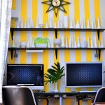 wonderful workspace design with alluring stripes white and yellow wall also artistic ceramic decoration with floating shelves feat cozy movable chairs