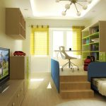 wood TV cabinet hardwood flooring wood open shelf yellow striped curtains wood and green wardrobe white office chair white desk wood wall mounted shelf blue bed frame whie chandelier downlights