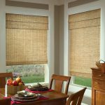 wood-woven window shades rustic wood dining furniture dining tool set  medium-size wood cabinetry with big basket made from rattan